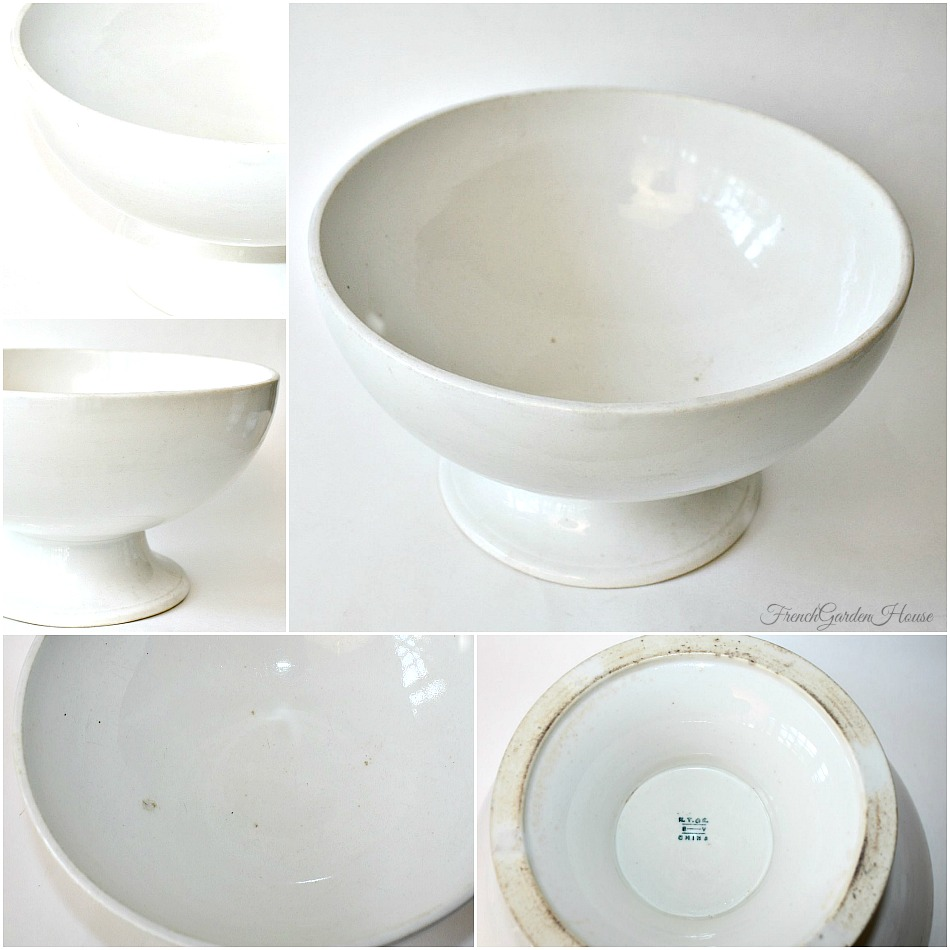 sc 1 st  FrenchGardenHouse & Antique White Ironstone Punch Bowl