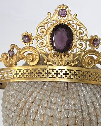Antique 19th Century French Gilt Brass Repousse Madonna Santos Tiara Crown Purple Glass Jewels