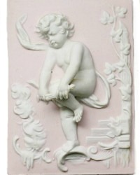 Vintage Pink and White Bisque Porcelain Cherub Decorations Set of 3