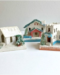 Vintage Putz Houses with Mica Snow Set of 3