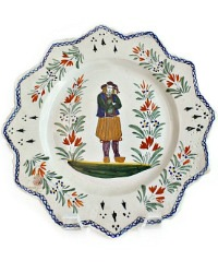 French Faience Plate Henriot Quimper Breton Man