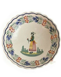 French Faience Quimper Bowl with Breton Woman
