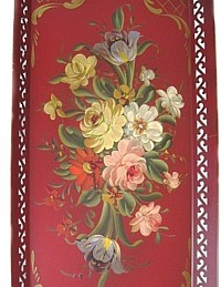 Vintage RED Toleware Hand Painted French Country Roses & Tulips Tray