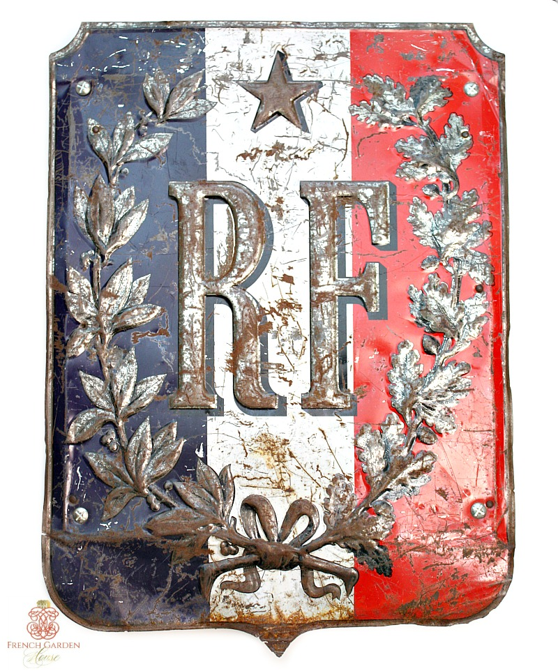 Antique French Metal and Wood RF Flag Holder Shield