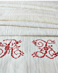 Antique French Linen Towel Runner Red Embroidered Monogram R L