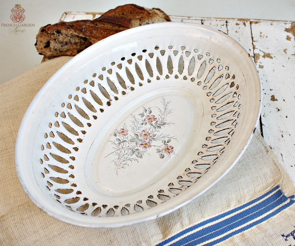 Antique French Hand Painted Enamelware Bread Basket
