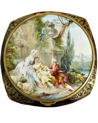 Rare French Powder Compact with Pastoral Scene and Original Box