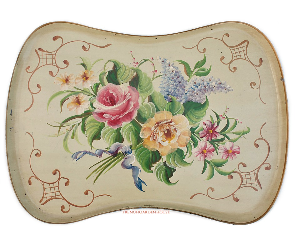 Large Vintage French Vanilla Rose Bouquet Toleware Tole Tray