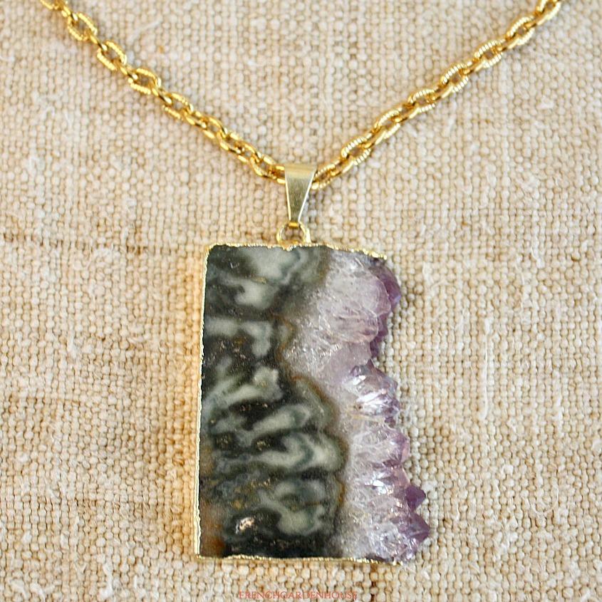 Natural Amethyst Pendant Necklace Camila