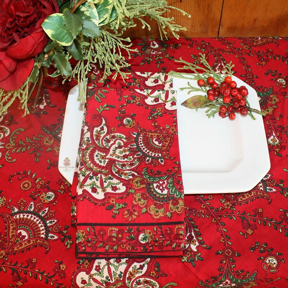 Red Paisley Napkins Set of 4 LAST FEW
