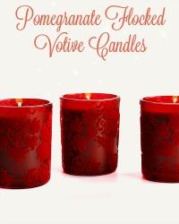 Set of 3 Flocked Red Votive Candles