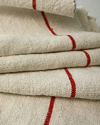 Antique French Country Organic Linen Tablecloth Red Stripe