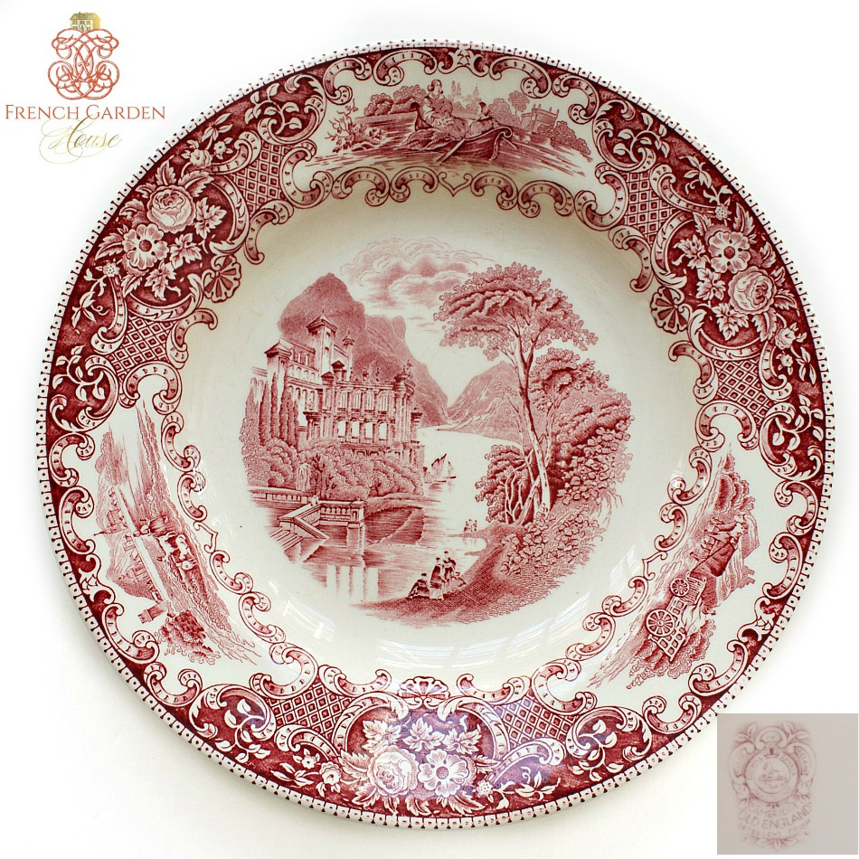 Antique Red Transferware Plate Maastricht Small