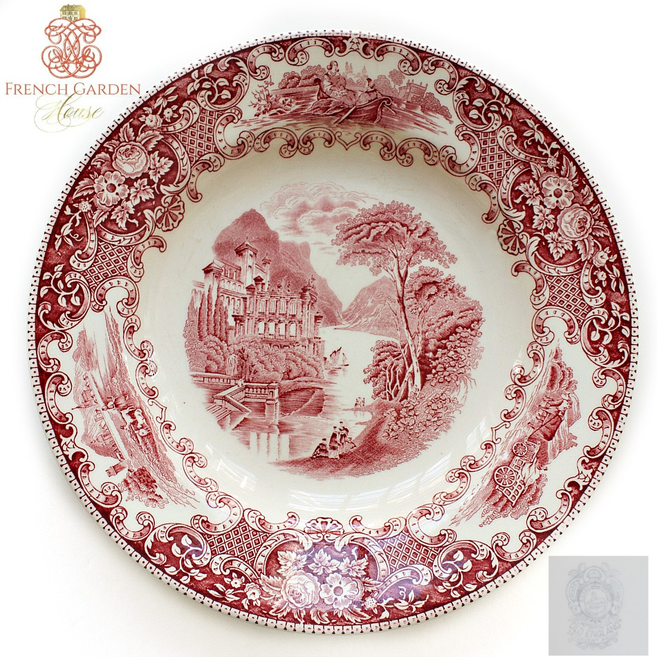 Antique Red Transferware Plate Maastricht