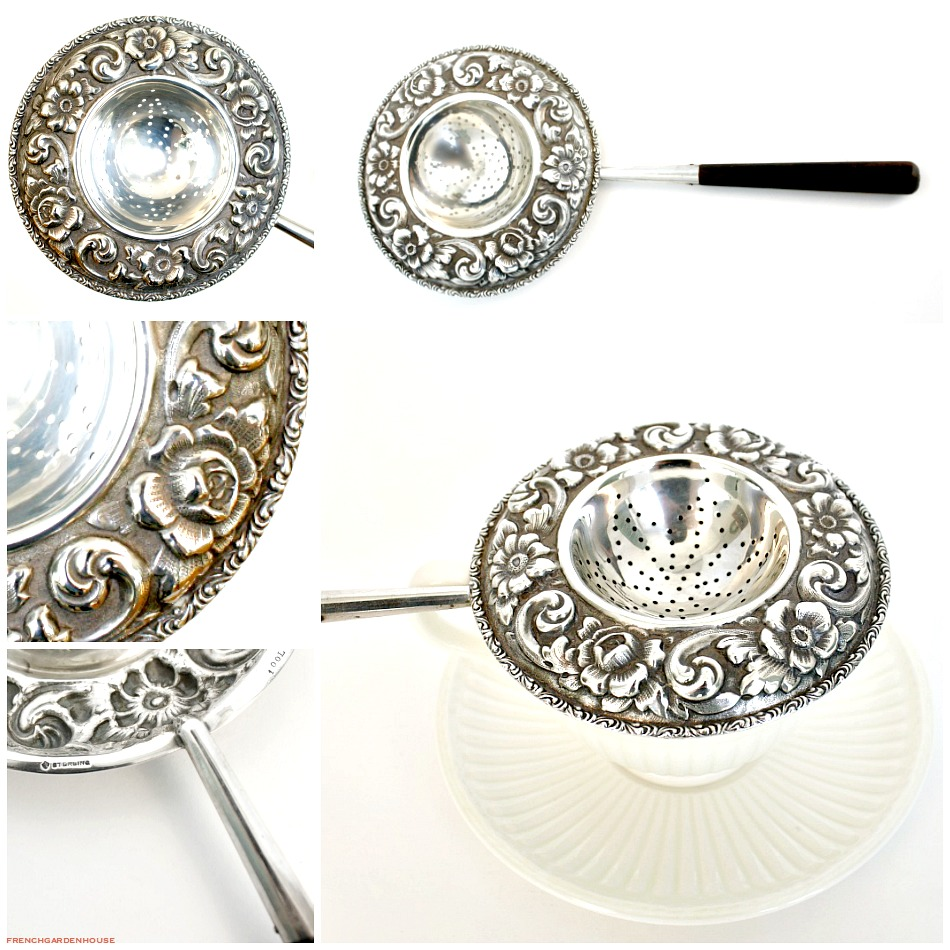 Exceptional Antique Sterling Silver Floral Repousse Tea Strainer Roses