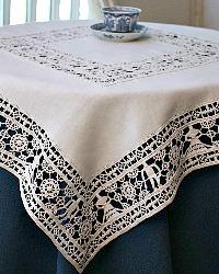 Italian Hand Made Reticella Figural Lace Supper Cloth