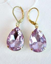 Lavender Orchid Rhinestone Teardrop Earrings