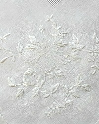 Vintage Grass Linen White Hand Embroidered Floral Tea Cloth Butterfly