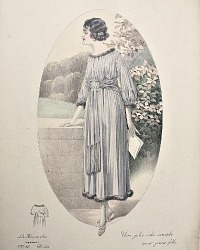 Antique French Hand Colored Fashion Print Lavender Robe Simple