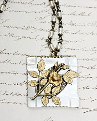 Romancing the Rose Necklace   Antique Button Collection