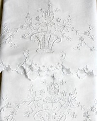 Decorative  Hand Embroidered Pillowcases Rose Baskets