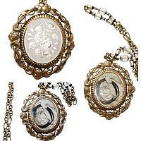 Antique White Roses Swivel Locket Keepsake Necklace
