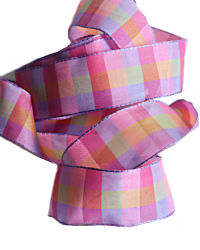 Rose Lavande Checked French Wired Ribbon