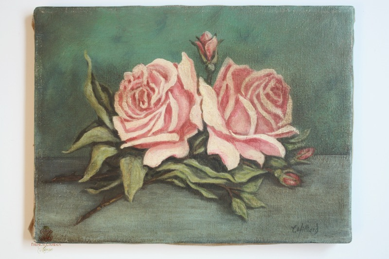 Original Shabby Pink Roses Oil Painting