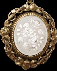 Antique White Roses Swivel Locket Mourning Jewelry Necklace