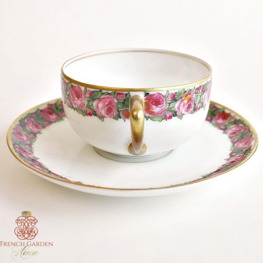 Estate Rosenthal Roses Demitasse Cup & Saucer 1922