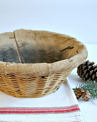 Antique French Baker's Wicker Round Bread Basket