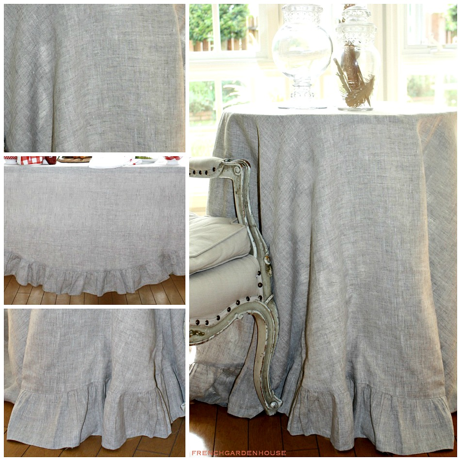 Elegant Natural European Organic Linen Round Tablecloth