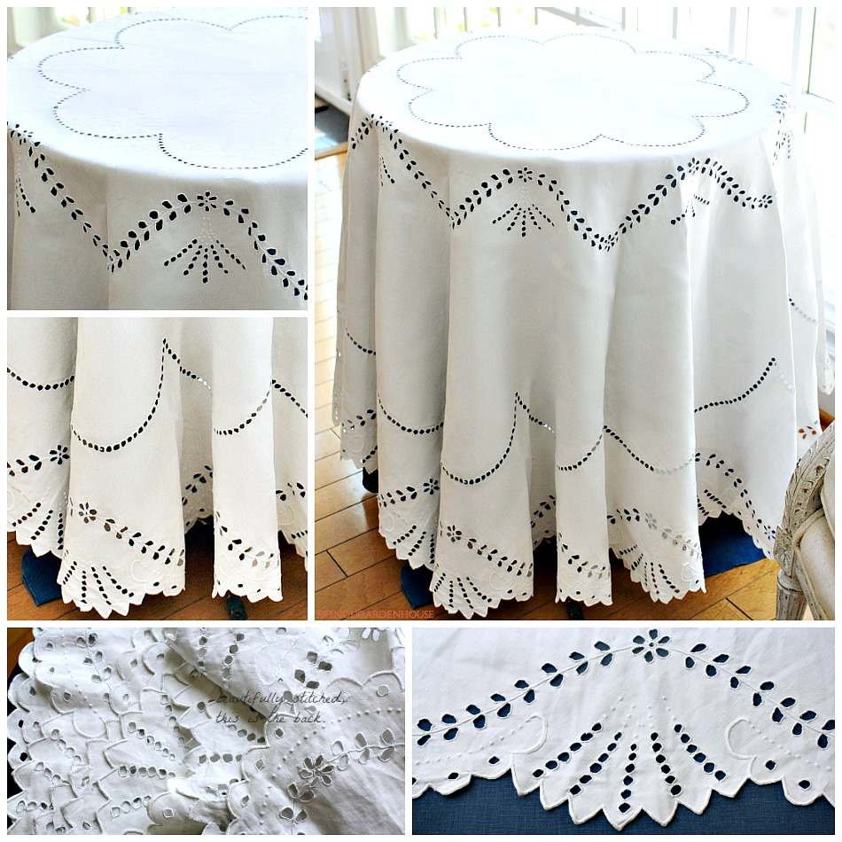 Antique French Linen Hand Embroidered Whitework Round Tablecloth