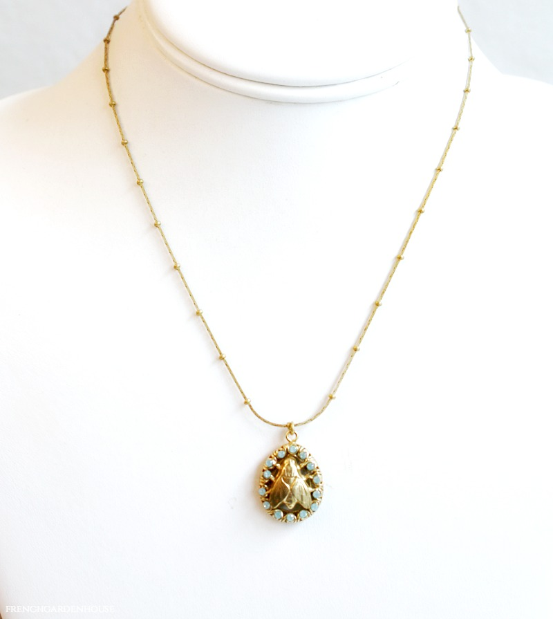 French Royal Bee Necklace with Aqua Stones