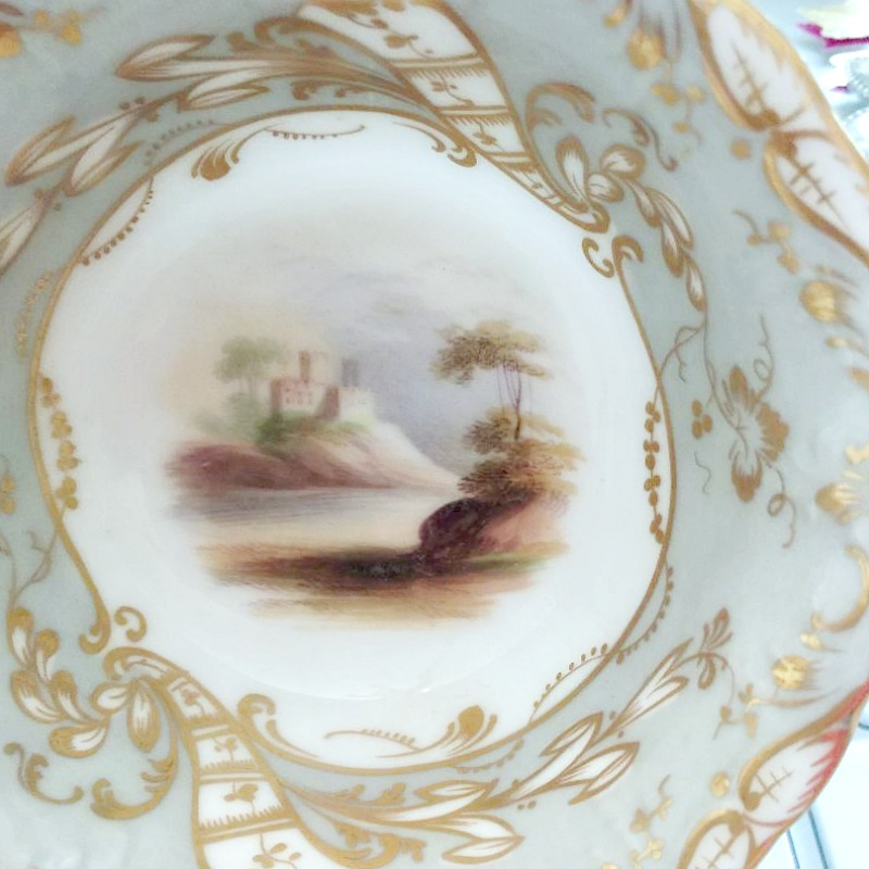 Antique Royal Worcester Hand Painted Landscape Tea Cup and Saucer Gilt