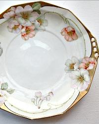 Antique 19th Century Rudolstadt Hand Enameled Gilt Serving Platter