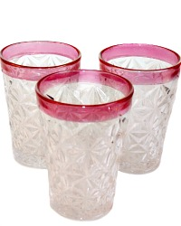 Vintage Ruby Flashed Small Glasses Set of 6