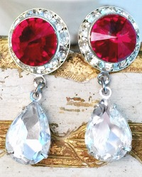 Radiant Fire and Ice Rhinestone Teardrop Earrings
