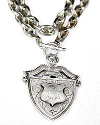 Antique Heirloom Estate Collection Sterling Singing Award Fob Necklace