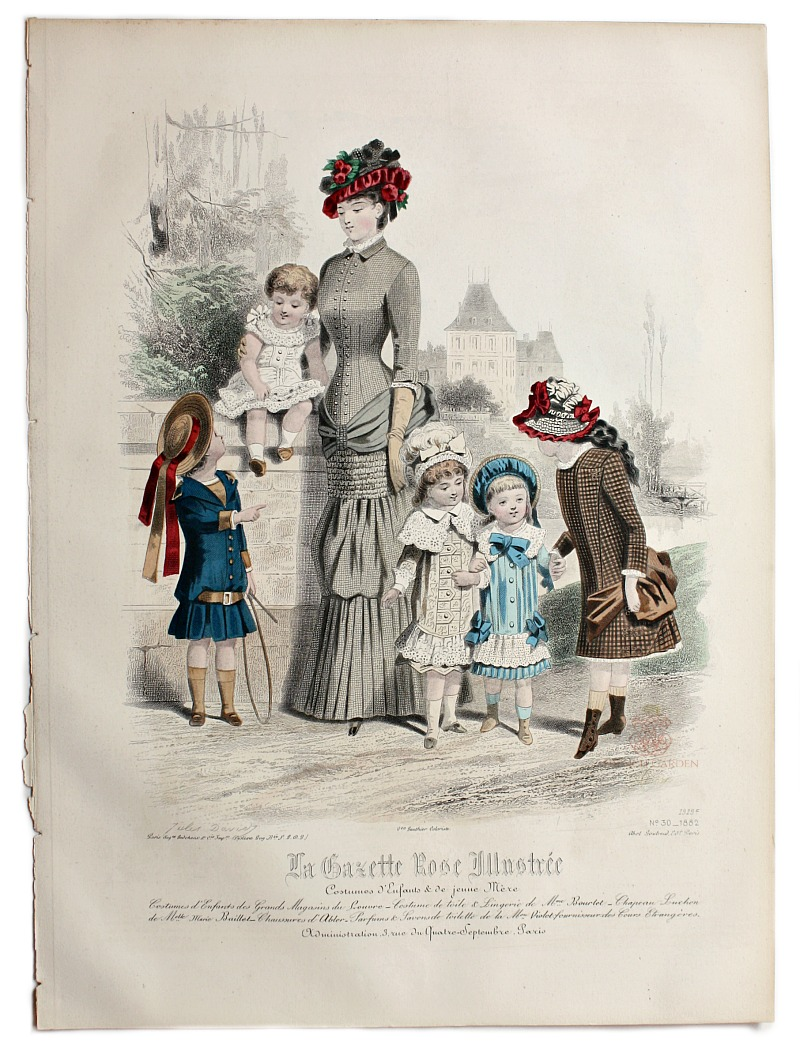 Antique French Hand Colored Fashion Print Lithograph Sailor Dress