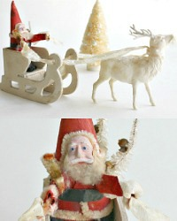 Antique Putz Santa on White Mica Sled Celluloid Reindeer