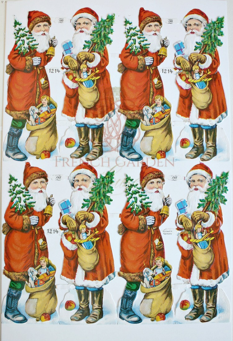 Vintage European Father Christmas Scrap Die Cuts Toys and Dolls