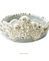 One of a Kind Shellwork Mother of Pearl Bridal Tiara Crown