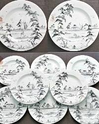 Exceptional Dinner Plates Hand Painted Deborah Sears Isis Ceramics Set of 8