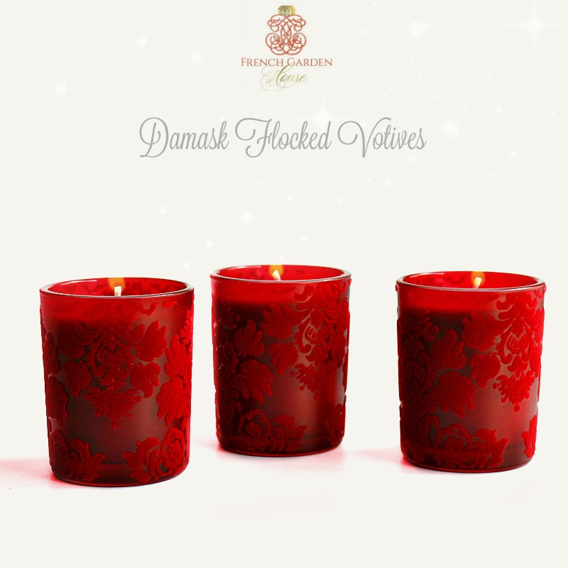 set of 3 flocked red votive candles With what kind of paint to use on kitchen cabinets for religious votive candle holders