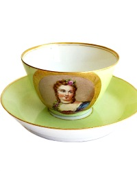 Antique French Old Paris Hand Painted Portrait Tea Cup & Saucer II