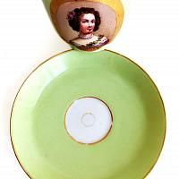 Antique French Old Paris Hand Painted Portrait Tea Cup & Saucer I