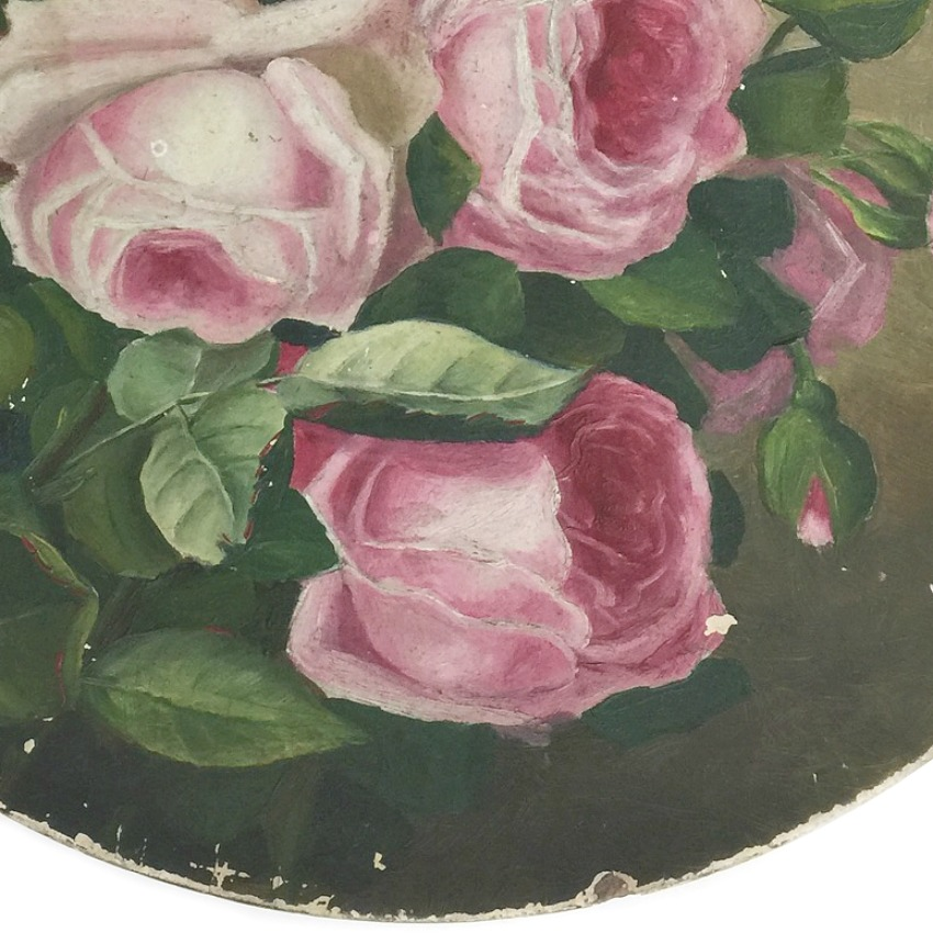 Antique Shabby Papier Mache French Pink Roses Painting