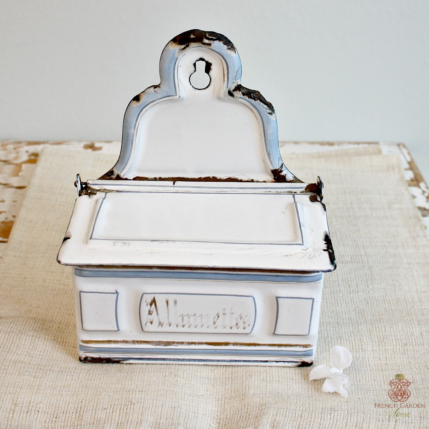 Antique French White and Light Blue Allumettes Enamelware Box