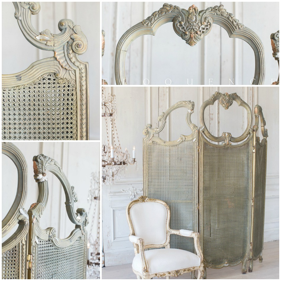 Eloquence One of a Kind 1940's Gilt Cane Dressing Room Screen